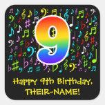 [ Thumbnail: 9th Birthday: Colorful Music Symbols, Rainbow 9 Sticker ]