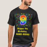 [ Thumbnail: 9th Birthday: Colorful Music Symbols, Rainbow 9 T-Shirt ]