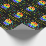 [ Thumbnail: 9th Birthday: Colorful Music Symbols, Rainbow 9 Wrapping Paper ]