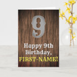 [ Thumbnail: 9th Birthday: Country Western Inspired Look, Name Card ]