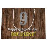 [ Thumbnail: 9th Birthday: Country Western Inspired Look, Name Gift Bag ]