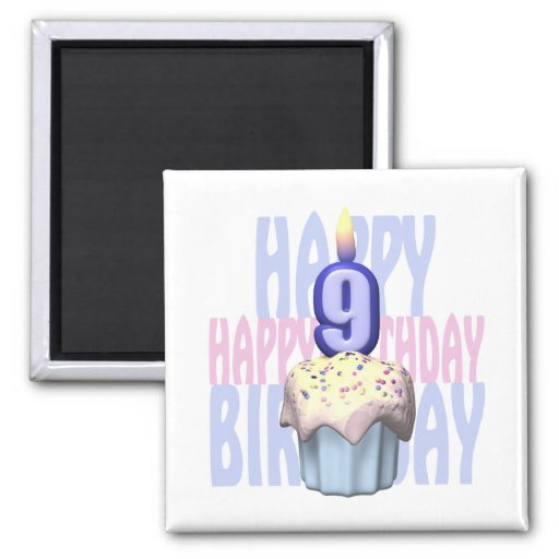 9th Birthday Cupcake Birthday 2 Inch Square Magnet