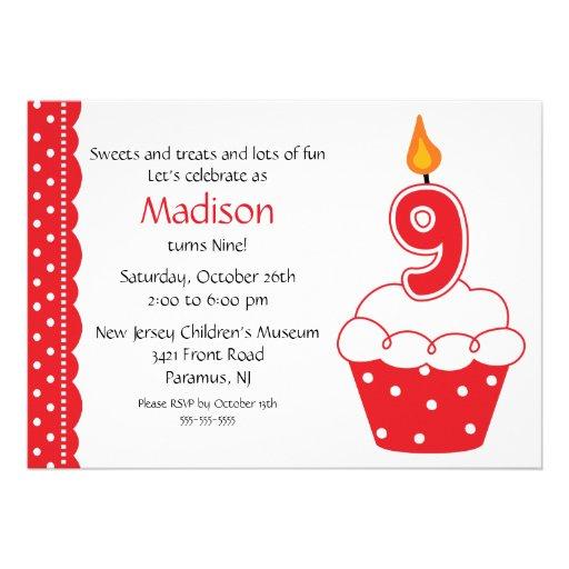 """9th Birthday Cupcake Invitation 5"""" X 7"""" Invitation Card   Zazzle"""
