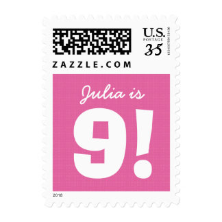 9th Birthday Custom Name Pink White for GIRL B9Z Postage Stamps