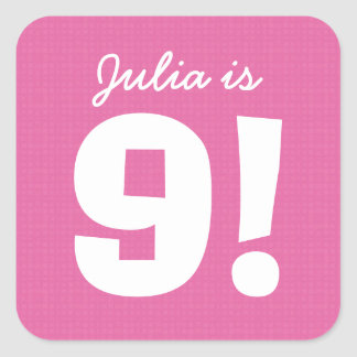 9th Birthday Custom Name Pink White for GIRL B9Z Square Sticker
