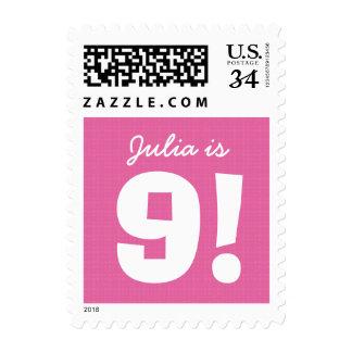 9th Birthday Custom Name Pink White for GIRL B9Z Stamp