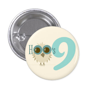 9th Birthday Cute Retro Owl Button Cool Turquoise