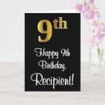 [ Thumbnail: 9th Birthday ~ Elegant Luxurious Faux Gold Look # Card ]