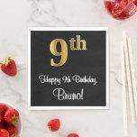 [ Thumbnail: 9th Birthday ~ Elegant Luxurious Faux Gold Look # Napkins ]