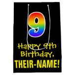 "[ Thumbnail: 9th Birthday: Fun, Bold, Colorful, Rainbow ""9"" Gift Bag ]"
