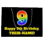 [ Thumbnail: 9th Birthday ~ Fun, Colorful, Vibrant, Rainbow 9 Gift Bag ]