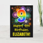 [ Thumbnail: 9th Birthday: Fun Fireworks Pattern + Rainbow 9 Card ]