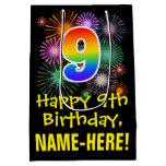 [ Thumbnail: 9th Birthday: Fun Fireworks Pattern + Rainbow 9 Gift Bag ]