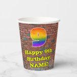 [ Thumbnail: 9th Birthday: Fun Graffiti-Inspired Rainbow 9 ]