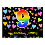 [ Thumbnail: 9th Birthday: Fun Hearts Pattern, Rainbow 9 Postcard ]
