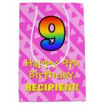 [ Thumbnail: 9th Birthday: Fun Pink Hearts Stripes & Rainbow 9 Gift Bag ]