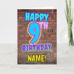 [ Thumbnail: 9th Birthday - Fun, Urban Graffiti Inspired Look Card ]