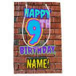 [ Thumbnail: 9th Birthday: Fun, Urban Graffiti Inspired Look Gift Bag ]