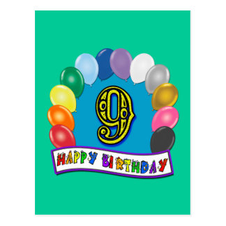 9th Birthday Gifts with Assorted Balloons Design Postcards