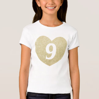 9th Birthday Girl Glitter heart Personalized T-Shirt