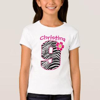 9th Birthday Girl Hot Pink & Black Zebra Pattern T-Shirt