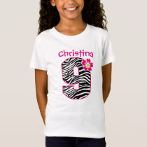 9th Birthday Girl Hot Pink & Black Zebra Pattern T-Shirt