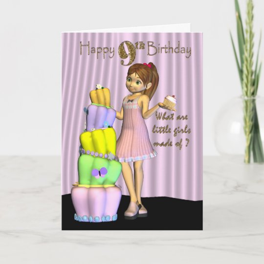 9th Birthday Happy Card Little Girl With