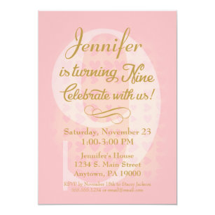 9th birthday invitations announcements zazzle 9th birthday invitation girls pink gold hearts filmwisefo