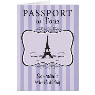 9TH Birthday Paris Passport Invitation Stationery Note Card