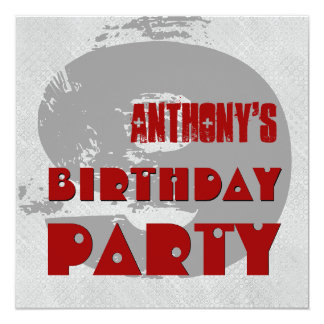 """9th Birthday Party 9 Year Old Grunge Design 5.25"""" Square Invitation Card"""