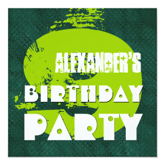 9th Birthday Party 9 Year Old Grunge Green Dots Invitation