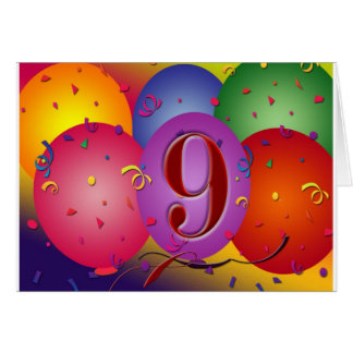 9th Birthday Party Colorful balloons Greeting Card