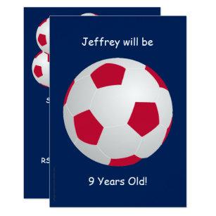 9th Birthday Party Invitation Soccer Ball