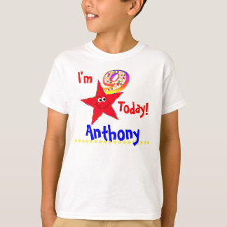 9th Birthday Party Shirt Red Smiley Stars