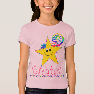 9th Birthday Party Shirt Smiley Stars