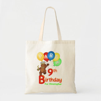 9th Birthday Party Teddy Bear Prince Goodie Tote Bag