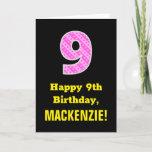 "[ Thumbnail: 9th Birthday: Pink Stripes and Hearts ""9"" + Name Card ]"