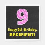 "[ Thumbnail: 9th Birthday: Pink Stripes and Hearts ""9"" + Name Napkins ]"