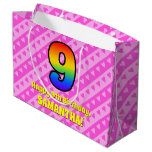 [ Thumbnail: 9th Birthday: Pink Stripes & Hearts, Rainbow # 9 Gift Bag ]