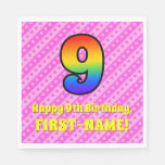 [ Thumbnail: 9th Birthday: Pink Stripes & Hearts, Rainbow # 9 Napkins ]