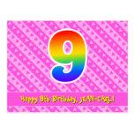 [ Thumbnail: 9th Birthday: Pink Stripes & Hearts, Rainbow 9 Postcard ]