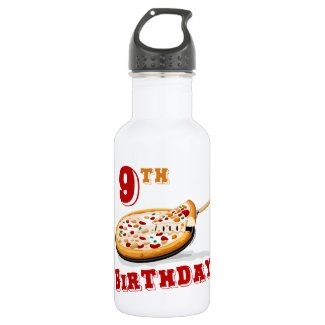 9th Birthday Pizza Party 18oz Water Bottle