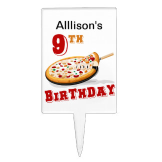 9th Birthday Pizza Party Cake Picks