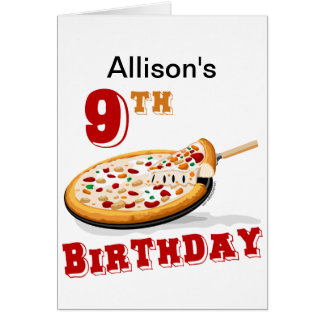 9th Birthday Pizza Party Card