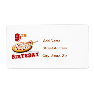 9th Birthday Pizza Party Label