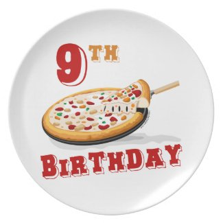 9th Birthday Pizza Party Plates