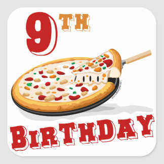 9th Birthday Pizza Party Square Sticker