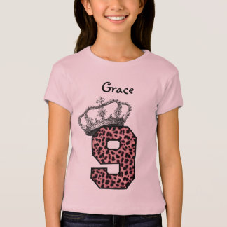 9th Birthday Princess Crown and Pink Leopard V08 T-Shirt