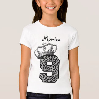 9th Birthday Princess Crown and Snow Leopard V09 T-Shirt