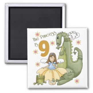 9th Birthday Princess Refrigerator Magnets
